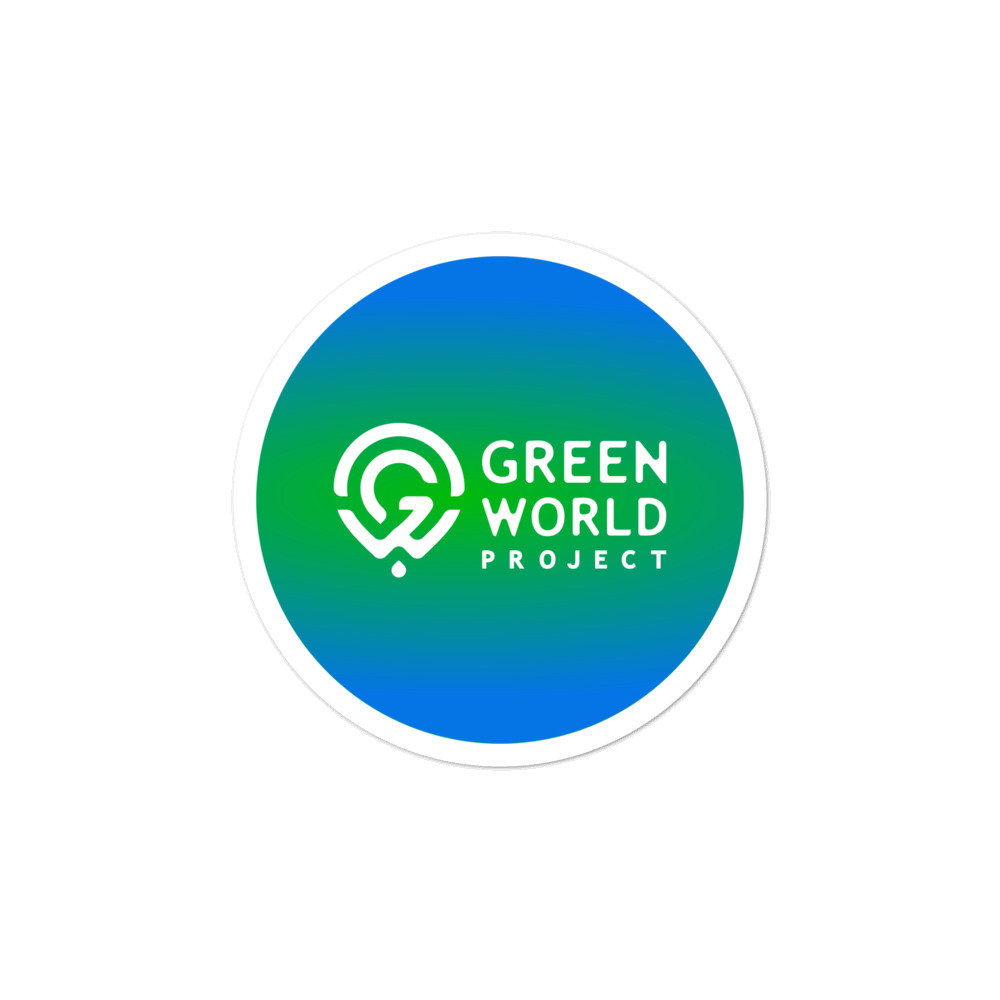 Bubble-free stickers – Green World Projekt Logo and Text