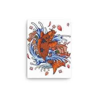 Canvas – Note Blockchain – japanese Koi with white background